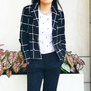 NEW Express Black and White Checkered Blazer